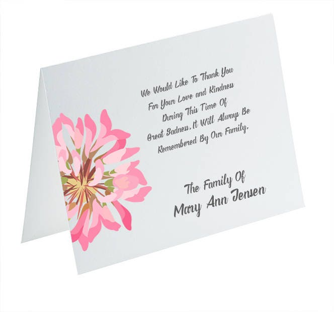 funeral thank you cards sympathy acknowledgement cards