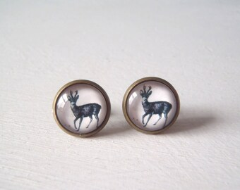 Stag Antlers Deer Earrings studs vintage illustration