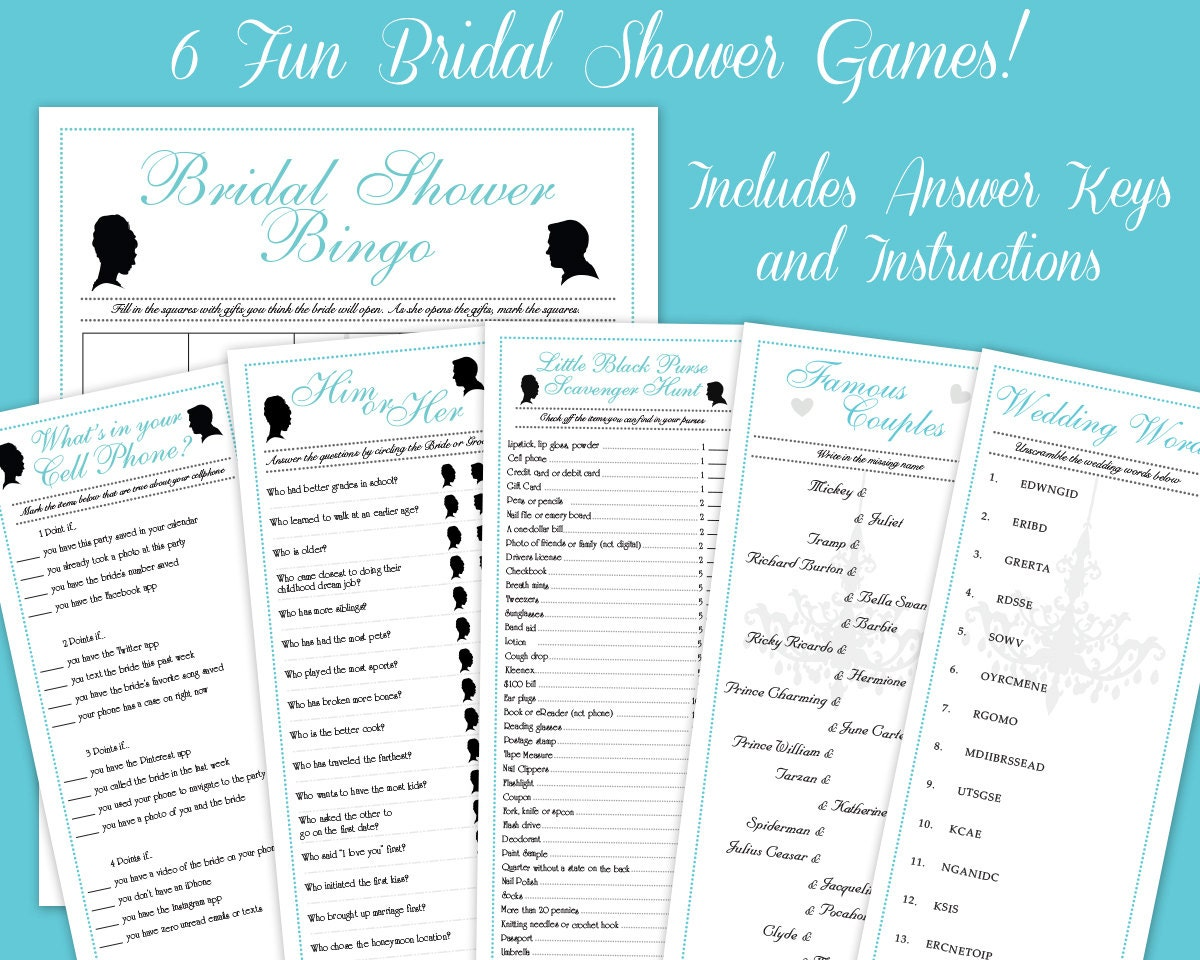 6 Breakfast at Tiffany\'s downloadable Bridal Shower Game