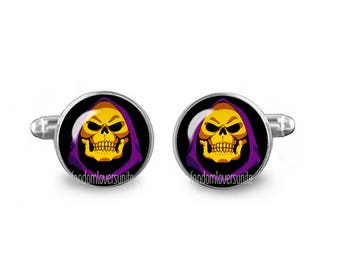 Skeletor Cuff Links 16mm He Man Cufflinks Gift for Men Groomsmen Geeky Cuff links Comics Jewelry