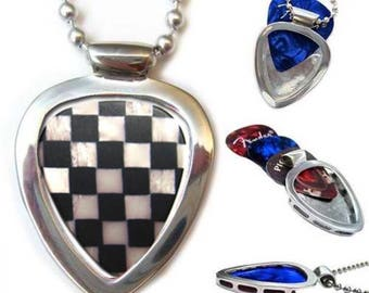 Pickbay Guitar Pick Necklace + Vintage Checkerboard Guitar Pick (Stainless Steel)