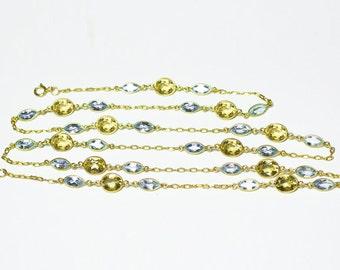24K Gold Vermeil Blue Topaz and Citrine Necklace, 24K Gold Vermeil Blue Topaz and Citrine Bracelet, Blue Topaz Necklace Citrine Bracelet