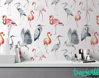 Flamingo Herron Wallpaper - Removable Wallpapers - Flamingo Print Wallpaper - Self Adhesive Wall Decal - Temporary Peel and Stick Wall Art