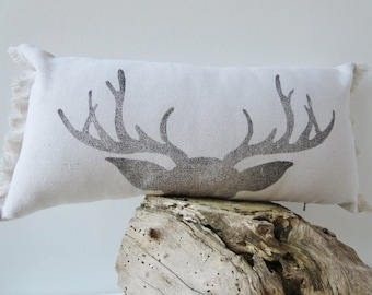 Antler Pillow cover,Rustic Decor, Lumbar, Bolster,  Fringe, Farmhouse Decor,  Block Print , Natural Canvas