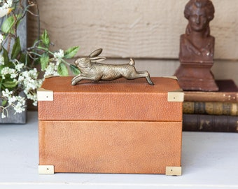 Vintage Wooden Box Wrapped with Leather Brass Bunny Rabbit Hare Brass Italy