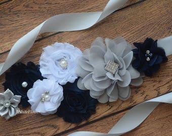 Flower Sash, navy grey white Sash, #4,flower Belt, maternity sash, wedding sash, maternity sash girl, flower girl sash, gray sash