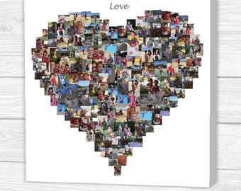Personalised 'Love' Heart Photo Collage Canvas, Print or Framed Print
