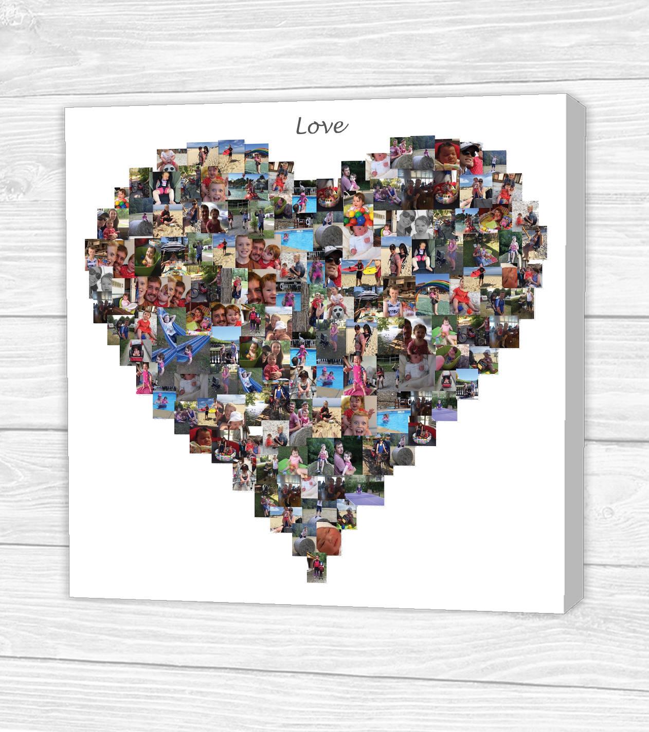 personalisierte 39 love 39 herz foto collage leinwand. Black Bedroom Furniture Sets. Home Design Ideas