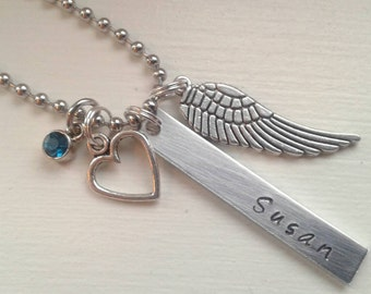 Personalized Memorial Jewelry - Name, Angel Wing, Heart and Choice of Birthstone - Sympathy Gift - Custom Memorial Necklace - Loss of Friend