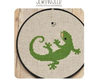 Lizard Cross Stitch Pattern, Gecko Instant Download