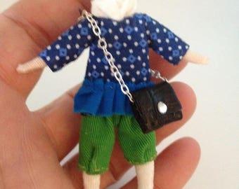 miniature Tilda teenager girl brooch
