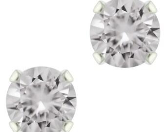 925 Sterling Silver Natural 3mm to 6mm  Diamond Cut White Topaz Gemstones Stud Earrings