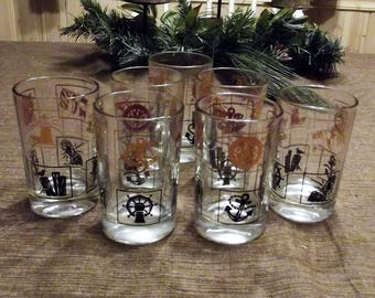 Vintage Gold and Black Nautical Design Glasses - Set of 7