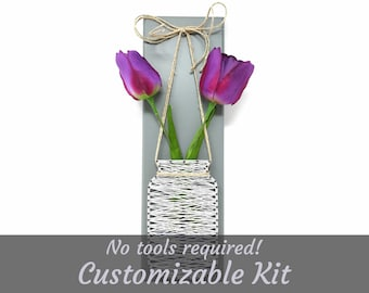 Mason Jar Hanging with Tulips - Customizable DIY String Art Kit - No Tools Required