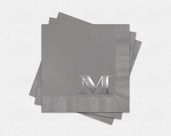 100 Cocktail Napkins, Silver Foil Monogram, Personalized 3-Ply Paper Napkins, Napkin And Foil Color Options Available