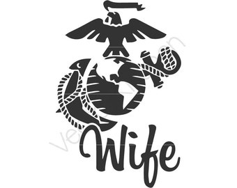 Marine Wife Cutting Template SVG EPS Silhouette DIY Cricut Vector Instant Download Make the Cut knk Sure Cuts A Lot