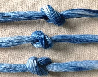 1 skein of size 12 indigo dyed perle cotton thread