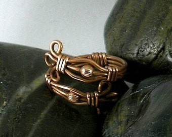 Wire Wrapped Copper Ring with Round Beads - Adjustable Size