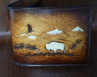 White Buffalo,Mens Leather Wallet,Native American,tribal,bison,bifold,billfold,credit cards,Hand made Wallet,with flying Eagle and Mountains
