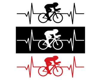Bicycle / Bicyclist Heartbeat Decal / Sticker - IDS-031