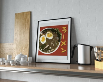 Red Ramen Poster, japanese food, kitchen poster, anime food, anime, katakana, ramen wall art, japanese writing, restaurant poster, sushi art
