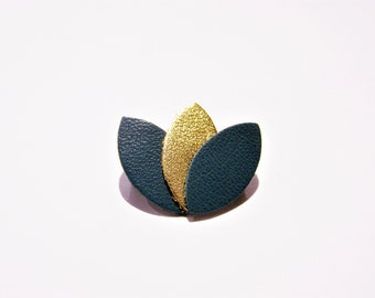 Teal and gold leather petals brooch
