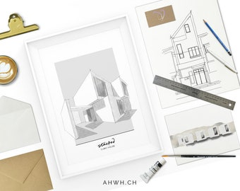Cubic house NO.1 - Modern architecture. Building sketch. Modern mansion. Sketch. Drawing