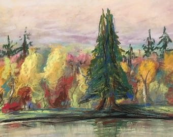 Salmon river in the highlands pastel painting river fishing autumn
