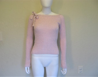 Pink Metallic Shimmer Ribbed Knit Long Sleeve top
