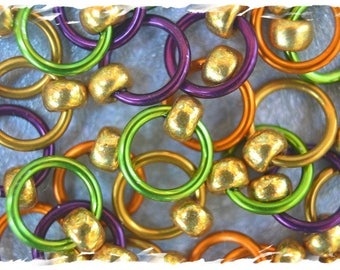 """Ringlets """"Farmers Market"""" stitch markers, ring markers, knitting markers, snag free, dangle free"""