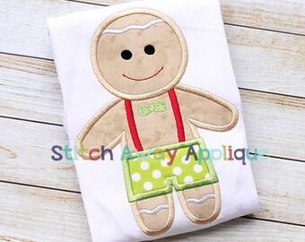 Gingerbread Boy Christmas Machine Applique Design