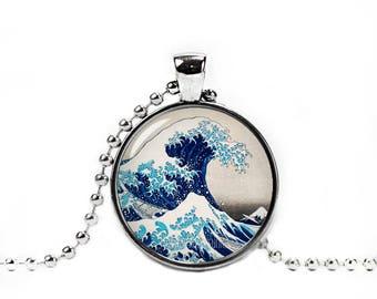 Hokusai Necklace The Great Wave Pendant Hokusai Jewelry Photo Glass Pendant