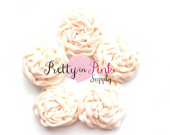 Cream MINI Isabella Collection Ruffled Rosettes- You Choose Quantity- Rolled Rosettes- Rolled Rosettes- Rosettes- Flower- Supply DIY