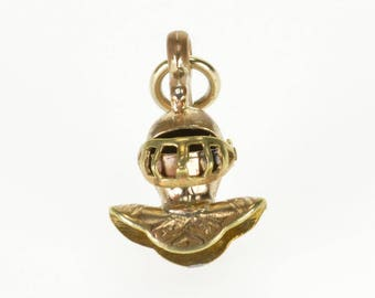 k 3D Articulated Medieval Armor Helmet Knight Charm/Pendant Gold Filled