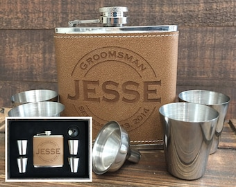 Will you be my Groomsman Personalized Leather Flask Set, Best Man Gift Flask, Engraved Flask, Monogram Flask, Custom Flask, Asking Groomsmen