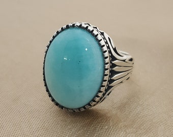 925K sterling silver mens ring with amazonite stone