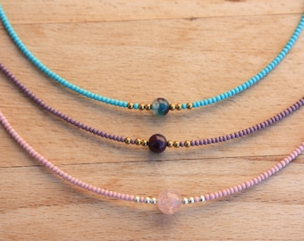 Tiny Beads Choker Necklace, Seed bead&Agate  Simple Jewelry