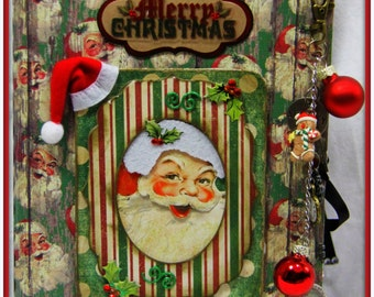 Premade Christmas Vintage Style Chunky Scrapbook ~ Just add photos and journaling!  Over 100 mats & journaling spots and lots of pockets!