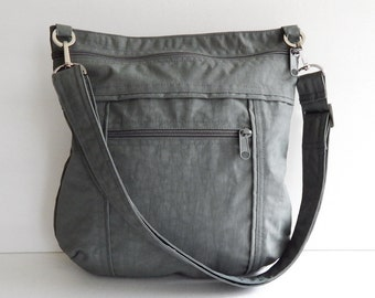 Sale - Grey Water Resistant Nylon Messenger Bag - Shoulder bag, Crossbody bag, Tote, Hip bag, Travel bag, Women - JOY