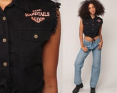 Biker Shirt Motorcycle Crop Top HARDTAILS SALOON Vest 90s Sleeveless Shirt 1990s Vintage Hipster Button Up Black Small