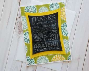 Thank You Chalkboard Stamped Card, Heat Embossed Card, Floral Card, Subway Print Card