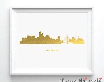 Sao Paulo Skyline Gold Foil Print, Gold Print, Map Custom Print in Gold, Art Print, Sao Paulo Brazil Skyline Gold Foil Art Print