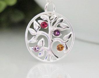 Birthstone tree life etsy tree of life necklace family tree birthstone necklace sterling silver family tree necklace with aloadofball Gallery