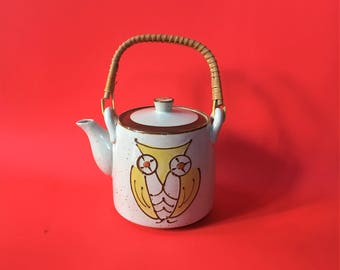 Vintage 70s Yellow Mod Owl Ceramic Bamboo Handled Teapot