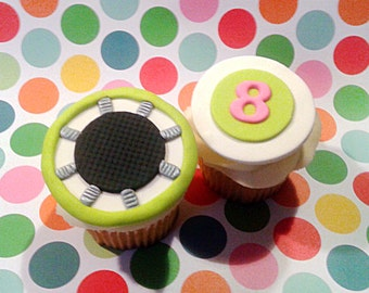 Fondant cupcake toppers Jump Trampoline Birthday Party