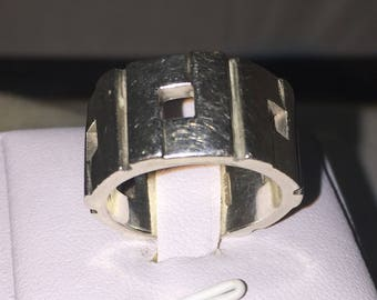 Rare Vintage Authentic Gucci Wide Sterling Silver Ring Size R - S1/2 free ship in AU