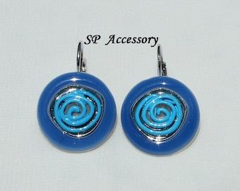Blue jewelry, Metallic Earrings, colorful circle earrings, black earrings, purple earrings, stainless steel earrings, jewelry earrings