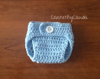 Crochet Baby Baby Blue Diaper Cover Photoprop/ Made to Order