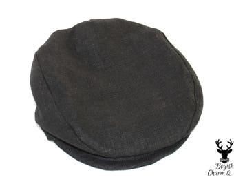 Boys Newsboy Hat, Boys Black Linen Hat, Boys Linen Hat, Ring Bearer Outfit, Wedding Hat, Boys Flat Hat, Boys Formal Hat, Golf Hat, Baby Hat