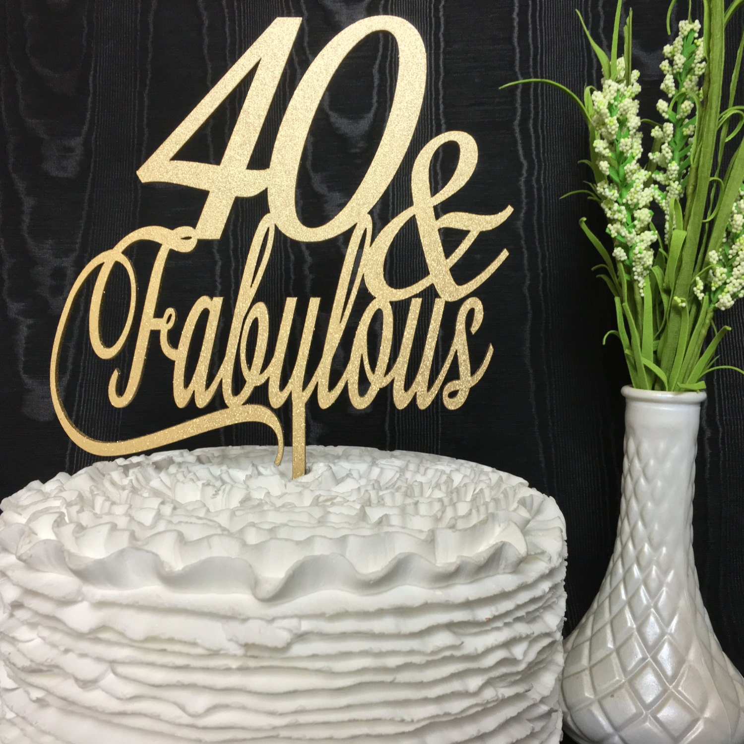40th Birthday Cake Topper 40 Fabulous Cake Topper Glitter